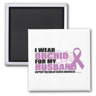 I Wear Orchid For My Husband Square Magnet