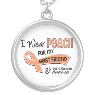 I Wear Peach 42 Best Friend Uterine Cancer Round Pendant Necklace