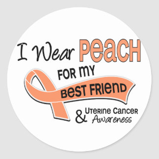 I Wear Peach 42 Best Friend Uterine Cancer Stickers