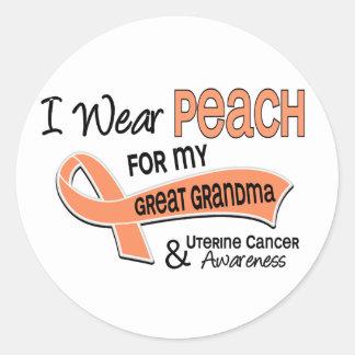 I Wear Peach 42 Great Grandma Uterine Cancer Round Stickers