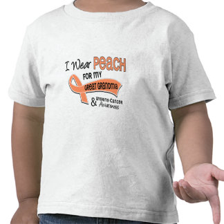 I Wear Peach 42 Great Grandma Uterine Cancer T Shirt