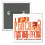 I Wear Peach For Mother-In-Law 6.4 Uterine Cancer Buttons