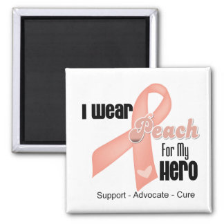 I Wear Peach For My Hero - Uterine Cancer Refrigerator Magnet