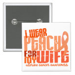 I Wear Peach For My Wife 6.4 Uterine Cancer 15 Cm Square Badge