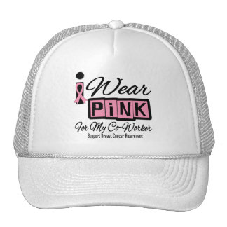 I Wear Pink Breast Cancer Co-Worker (Retro) Mesh Hat