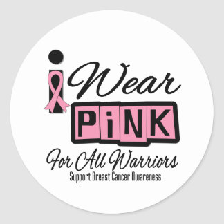 I Wear Pink Breast Cancer For All Warriors Retro Round Sticker