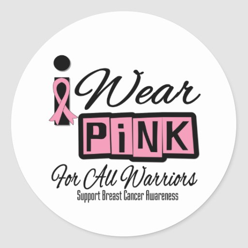 I Wear Pink Breast Cancer For All Warriors (Retro) Round Sticker
