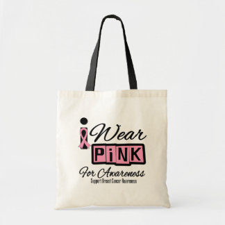 I Wear Pink Breast Cancer For Awareness (Retro) Canvas Bag