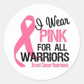 I Wear Pink For All Warriors Round Sticker
