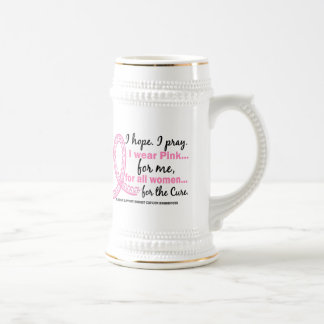 I Wear Pink For ME Filigree Pink Ribbon Beer Steins