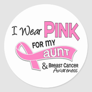 I Wear Pink For My Aunt 42 Breast Cancer Round Stickers