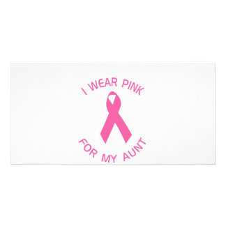 I Wear Pink For My Aunt Breast Cancer Awareness Picture Card