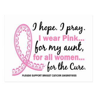I Wear Pink For My Aunt Filigree Pink Ribbon Postcard