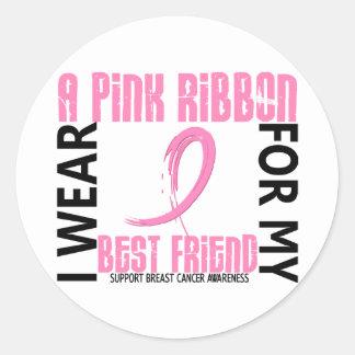 I Wear Pink For My Best Friend 46 Breast Cancer Round Sticker