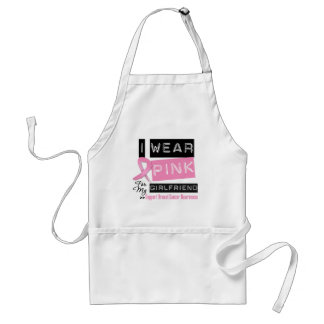 I Wear Pink For My Girlfriend Breast Cancer Adult Apron