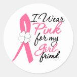 I Wear Pink For My Girlfriend Round Sticker