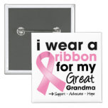 I Wear Pink For My Great-Grandma Breast Cancer 15 Cm Square Badge