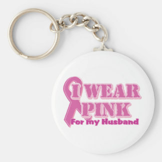 I wear pink for my husband basic round button key ring