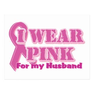 I wear pink for my husband postcard
