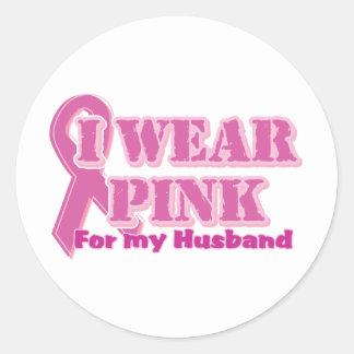 I wear pink for my husband round sticker