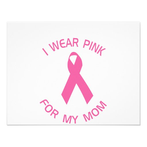 I Wear Pink For My Mom Breast Cancer Awareness Personalized Invites