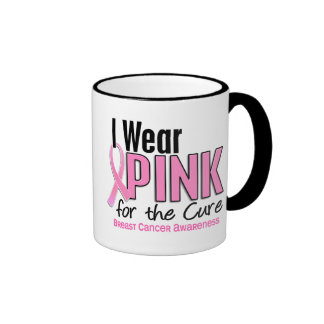 I Wear Pink For The Cure 10 Breast Cancer Ringer Coffee Mug