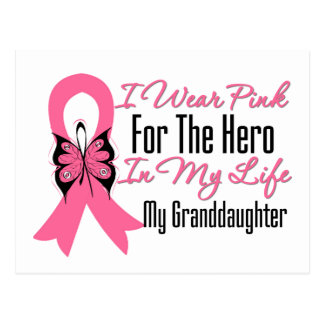 I Wear Pink For The Hero in My Life, Granddaughter Postcard