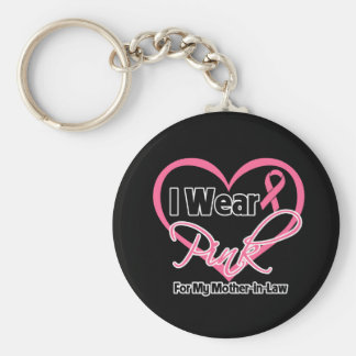 I Wear Pink Heart Mother-in-Law Breast Cancer Basic Round Button Key Ring