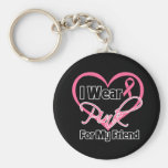 I Wear Pink Heart Ribbon Friend Breast Cancer Basic Round Button Key Ring