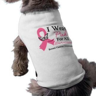 I Wear Pink Ribbon For All Survivors Breast Cancer Sleeveless Dog Shirt