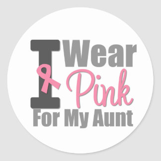 I Wear Pink Ribbon For My Aunt Round Sticker