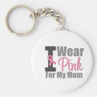 I Wear Pink Ribbon For My Mom Keychain