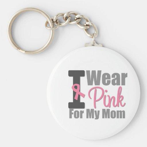 I Wear Pink Ribbon For My Mom Keychain