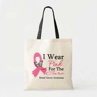 I Wear Pink Ribbon For The CURE Breast Cancer Budget Tote Bag