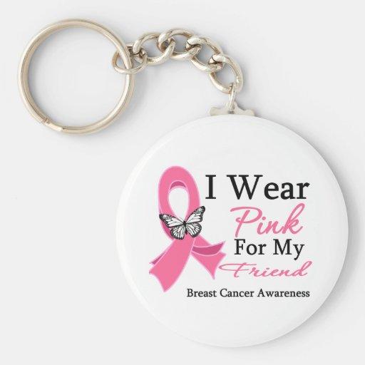 I Wear Pink Ribbon Friend Breast Cancer Basic Round Button Key Ring