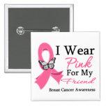 I Wear Pink Ribbon Friend Breast Cancer Button