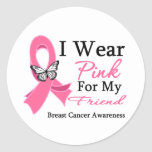 I Wear Pink Ribbon Friend Breast Cancer Classic Round Sticker
