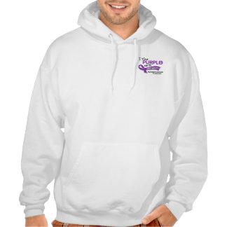 I Wear Purple 42 Great Grandma Pancreatic Cancer Hooded Sweatshirt