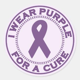 I Wear Purple For A Cure Sticker