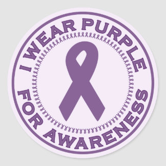 I Wear Purple For Awareness Round Sticker