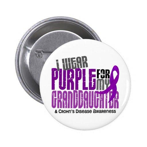 I Wear Purple For Granddaughter 6 Crohn's Disease Button