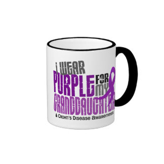 I Wear Purple For Granddaughter 6 Crohn's Disease Ringer Mug