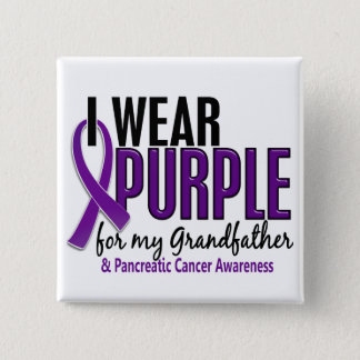 I Wear Purple For Grandfather 10 Pancreatic Cancer 15 Cm Square Badge