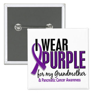 I Wear Purple For Grandmother 10 Pancreatic Cancer 15 Cm Square Badge