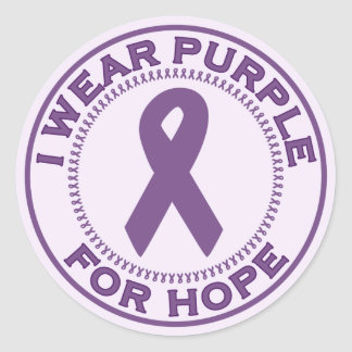 I Wear Purple For Hope Round Stickers