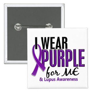 I Wear Purple For ME 10 Lupus 15 Cm Square Badge