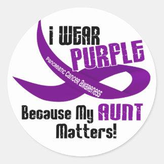 I Wear Purple For My Aunt 33 PANCREATIC CANCER Round Sticker