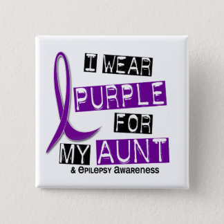 I Wear Purple For My Aunt 37 Epilepsy 15 Cm Square Badge