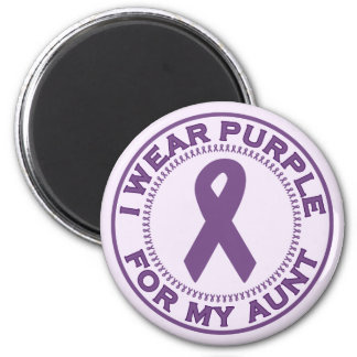 I Wear Purple For My Aunt 6 Cm Round Magnet