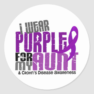 I Wear Purple For My Aunt 6 Crohn's Disease Classic Round Sticker
